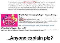 Size: 650x460 | Tagged: alicorn drama, end of ponies, entertainment weekly, magical mystery cure, meta, safe, text, zap2it