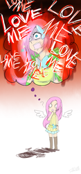 Size: 700x1500 | Tagged: safe, artist:dotoriii, fluttershy, angry, chibi, clothes, dress, empty eyes, humanized, imagination, long hair, love me, memory, open mouth, question mark, sad, skirt, solo, winged humanization, wings, yandere, you're going to love me