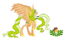 Size: 1104x724 | Tagged: safe, artist:ruaniamh, oc, oc only, oc:flidais, alicorn, pony, acorn, alicorn oc, freckles, looking up, pretty, raised hoof, smiling, solo, spread wings