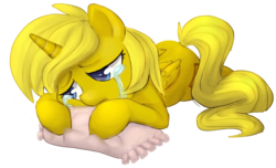 Size: 600x365 | Tagged: safe, artist:adailey, oc, oc only, oc:ticket, alicorn, pony, alicorn oc, crying, pillow, sad, simple background, solo, transparent background