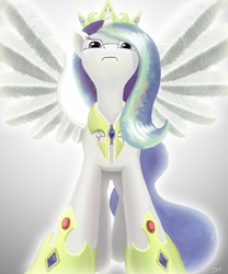 Size: 1250x1500 | Tagged: alicorn, artist:denial-is-tragic, dead source, disappointed, frown, hoof shoes, pony, princess celestia, safe, solo, spread wings