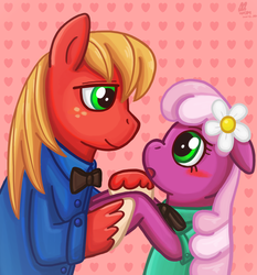 Size: 1831x1967 | Tagged: artist:eddiedodoman, big macintosh, blushing, cheerilee, cheerimac, clothes, dead source, earth pony, female, heart, heart background, male, mare, pixiv, pony, safe, shipping, stallion, straight