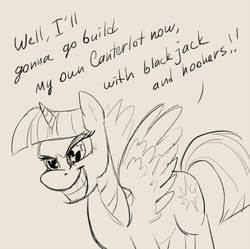 Size: 600x598   Tagged: safe, artist:celestiathegreatest, twilight sparkle, alicorn, pony, magical mystery cure, blackjack and hookers, female, futurama, grin, lineart, mare, princess pony, quote, smiling, solo, spread wings, starry eyes, twilight sparkle (alicorn), wingding eyes, wings
