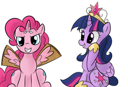 Size: 640x437 | Tagged: safe, artist:bambooharvester, pinkie pie, twilight sparkle, alicorn, pony, fake horn, fake wings, tumblr, twilight sparkle (alicorn)