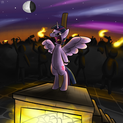 Size: 1500x1500 | Tagged: alicorn, alicorn drama, angry mob, artist:reakkorshrike, bipedal, burning at the stake, execution, fire, glare, moon, open mouth, pony, safe, spread wings, torch, twilight sparkle, twilight sparkle (alicorn)