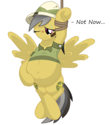 Size: 9600x10800 | Tagged: safe, artist:xniclord789x, daring do, absurd resolution, belly, blushing, both cutie marks, crossed legs, cutie mark, hat, labor, one eye closed, pith helmet, pregnant, simple background, spread wings, sweat, transparent background, whip, wink