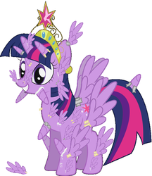 Size: 605x700 | Tagged: safe, artist:flash-draw, edit, twilight sparkle, alicorn, pony, alicorn body part overdrive, alicorn drama, alicorn edit, alicorn overdose, all of the horns, all of the wings, big crown thingy, duct tape, element of harmony, element of magic, female, glue, grin, mare, nightmare fuel, omnicorn, simple background, smiling, solo, spread wings, squee, tape, this isn't even my final form, twilight sparkle (alicorn), vector, wat, what has science done, white background