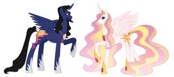 Size: 1600x709 | Tagged: safe, artist:alexkingofthedamned, oc, oc only, oc:king somnus, oc:queen aurora, alicorn, alicorn oc, celestia and luna's father, celestia and luna's mother, horn, parent, wings