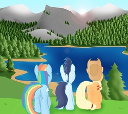 Size: 779x693 | Tagged: applebutt, applejack, artist:ajmstudios, equestria, female, lake altai, male, plot, rainbow dash, rainbutt dash, safe, scenery, shipping, soarin', soarindash, straight