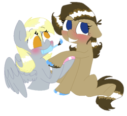 Size: 549x503 | Tagged: safe, artist:artflicker, derpy hooves, doctor whooves, time turner, blushing, derptoress, doctorderpy, female, half r63 shipping, hoof polish, lesbian, mouth hold, nail polish, professor whooves, rule 63, shipping, smiling, the doctoress