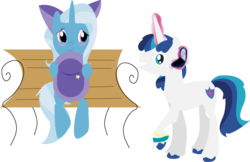 Size: 645x417   Tagged: safe, artist:lottapotatosalad, princess cadance, shining armor, trixie, blushing, bow, cellphone, crush, female, male, picture, shintrix, shipping, straight, younger