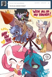 Size: 657x964 | Tagged: dead source, safe, artist:suikuzu, discord, king sombra, philomena, princess celestia, princess luna, queen chrysalis, nymph, phoenix, pony, ask chibilestia, annoyed, blissful ignorance, blushing, camera, cartoon violence, chibi, chick, colt, colt sombra, cute, cutealis, cutelestia, discute, eyes closed, filly, fire, foal, frown, grin, heart, lunabetes, match, mouth hold, nuzzling, one eye closed, open mouth, photo, pink-mane celestia, rocket, rope, sitting, smiling, sombradorable, squishy cheeks, unsexy bondage, up to no good, wink, woona, younger