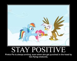 Size: 750x600 | Tagged: cloud, cloudy, edit, edited screencap, gilda, griffon, griffon the brush off, misspelling, motivational poster, pinkie pie, rainbow dash, safe, screencap, sky, smiling