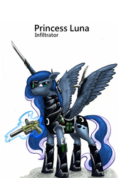 Size: 1240x1748 | Tagged: armor, artist:george5408, artist:rex42, gun, knife, pistol, princess luna, safe, solo, suppressor, warrior luna, weapon