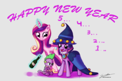 Size: 1500x1000 | Tagged: 2013, alicorn, artist:esuka, baby new year, crossed arms, cute, diaper, female, frown, glare, grin, happy new year, levitation, magic, mare, open mouth, pony, princess cadance, safe, simple background, sitting, smiling, spike, star swirl the bearded costume, telekinesis, text, twilight sparkle, unamused, unicorn, white background