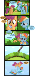 Size: 1513x3314 | Tagged: artist:veggie55, comic, rainbow dash, safe, scootaloo, scootaloo can't fly, scootalove