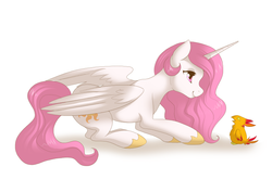 Size: 845x597 | Tagged: safe, artist:kittlums, philomena, princess celestia, chick, young