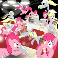 Size: 955x964 | Tagged: safe, artist:shutterflye, derpy hooves, pinkie pie, pegasus, pony, cupcakes vs muffins, eye scream, female, fight, knife, mare, muffin, multeity, pinkamena diane pie, this will end in pain, too much pink energy is dangerous