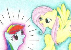 Size: 1024x724 | Tagged: safe, fluttershy, rainbow dash, pony pov series, alex warlorn, fanfic, fanfic art, fluttercruel, reharmonized ponies