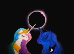 Size: 2921x2153 | Tagged: source needed, useless source url, safe, artist:azdaracylius, princess celestia, princess luna, eclipse, pastel, solar eclipse