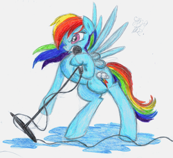 Size: 1600x1463 | Tagged: artist:vegemiteguzzle, microphone, music, rainbow dash, safe, traditional art