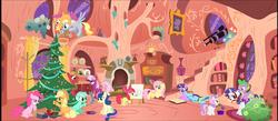Size: 4800x2100 | Tagged: safe, artist:stinkehund, apple bloom, applejack, big macintosh, bon bon, cheerilee, derpy hooves, fluttershy, lyra heartstrings, pinkie pie, rainbow dash, rarity, scootaloo, spike, sweetie belle, sweetie drops, twilight sparkle, dragon, earth pony, pegasus, pony, applepie, bridle, cheerimac, christmas tree, collar, cutie mark crusaders, dragons riding ponies, female, filly, flutterbloom, golden oaks library, holly, holly mistaken for mistletoe, leash, lesbian, levitation, library, lyrabon, magic, male, mane seven, mane six, mare, riding, rope, saddle, scootaloo can't fly, shipping, sparity, stallion, straight, telekinesis, tree, twidash, vector