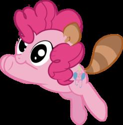 Size: 884x895 | Tagged: safe, artist:embertwist, pinkie pie, earth pony, pony, raccoon, tanooki, crossover, cute, nintendo, solo, super mario bros., super mario bros. 3