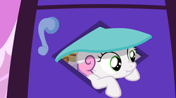 Size: 1280x719   Tagged: safe, screencap, sweetie belle, hearts and hooves day (episode), hearts and hooves day, scrunchy face, solo