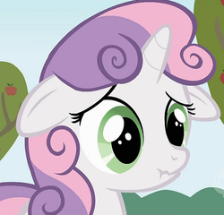 Size: 420x404   Tagged: safe, screencap, sweetie belle, the show stoppers, cropped, floppy ears, scrunchy face, solo