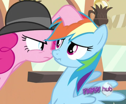 Size: 529x435   Tagged: safe, screencap, pinkie pie, rainbow dash, mmmystery on the friendship express, cropped, hub logo, scrunchy face