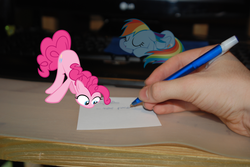 Size: 3872x2592 | Tagged: artist:bushinio, hand, human, micro, paper, pen, pinkie pie, ponies in real life, rainbow dash, safe, sleeping, sleepydash, vector
