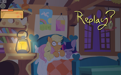 Size: 1059x654 | Tagged: safe, artist:mittsies, artist:rip, applejack, fluttershy, twilight sparkle, appleshy, appletwishy, bed, explicit source, female, flash, futa, futa fluttershy, game, intersex, missing accessory, shipping, sleeping, three curious ponies, twijack