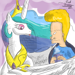 Size: 900x900 | Tagged: artist:rad-toucan, beavis, beavis and butthead, beavislestia, crack shipping, crossover, cup, cute, cutelestia, human, joke shipping, princess celestia, safe, tongue out