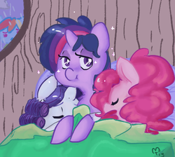 Size: 500x448 | Tagged: safe, artist:mt, pinkie pie, rainbow dash, rarity, twilight sparkle, pony, alternate hairstyle, bed, cute, diapinkes, eyes closed, female, lesbian, looking at you, mare, polyamory, rarilight, rarilightpie, raripie, shipping, sleeping, sleepover, spying, twinkie