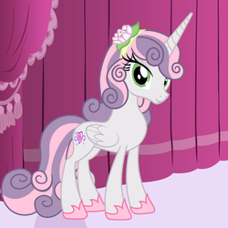 Size: 4320x4320 | Tagged: safe, artist:beavernator, sweetie belle, alicorn, pony, absurd resolution, clothes, looking at you, older, race swap, slippers, smiling, solo, story in the source, sweetiecorn, vector