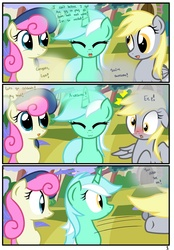 Size: 1741x2500 | Tagged: safe, artist:pyruvate, bon bon, derpy hooves, lyra heartstrings, sweetie drops, earth pony, pegasus, pony, unicorn, comic:the usual, :3, comic, female, mare