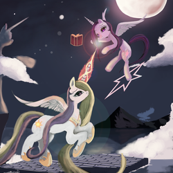 Size: 7560x7560 | Tagged: safe, artist:auroriia, princess celestia, twilight sparkle, alicorn, pony, absurd resolution, alternate hairstyle, book, cloud, cloudy, floating, flying, moon, mountain, night, stars, statue, twilight sparkle (alicorn)