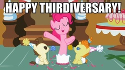 Size: 800x450 | Tagged: safe, edit, edited screencap, screencap, pinkie pie, pound cake, pumpkin cake, pony, baby cakes, anniversary, baby, baby pony, cake, foal, food, happy birthday mlp:fim, hat, image macro, mlp fim's third anniversary, noisemaker, party hat, party horn, pinkie being pinkie, pinkie physics