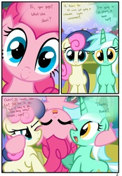 Size: 1741x2500 | Tagged: safe, artist:pyruvate, bon bon, lyra heartstrings, pinkie pie, sweetie drops, earth pony, pony, unicorn, comic:the usual, bon bon is not amused, comic, happy, in which pinkie pie forgets how to gravity, pinkie being pinkie, pinkie physics