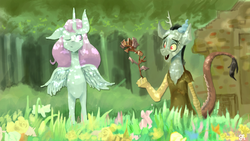 Size: 1920x1080 | Tagged: safe, artist:chung-sae, discord, princess celestia, copper, craft, dislestia, female, flower, grass, male, pink-mane celestia, shipping, straight, young, younger