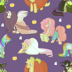 Size: 800x800   Tagged: safe, artist:tigs, applejack, fluttershy, pinkie pie, rainbow dash, rarity, twilight sparkle, alicorn, ghost, alicornified, apple, bandage, bedsheet ghost, cauldron, cheerleader, clothes, costume, dress, halloween, hat, mane six, nightmare night, pattern, pumpkin, race swap, raricorn, sheet, tile, tongue out, wallpaper, witch, witch hat