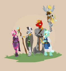 Size: 1593x1701   Tagged: dead source, safe, artist:phidippusofmystery, big macintosh, cheerilee, derpy hooves, lyra heartstrings, zecora, zebra, anthro, unguligrade anthro, adventuring party, archer, armor, arrow, axe, bow (weapon), bow and arrow, dungeons and dragons, fantasy class, flying, lyre, simple background, staff, unshorn fetlocks, weapon