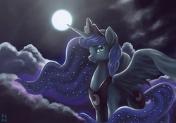 Size: 2019x1405 | Tagged: safe, artist:mrs1989, princess luna, alicorn, pony, backlighting, bedroom eyes, cloud, cloudy, ethereal mane, featured image, female, full moon, looking at you, moon, night, smiling, solo, spread wings, starry mane