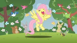 Size: 1191x670 | Tagged: safe, artist:ak71, fluttershy, bee, bird, butterfly, frog, rabbit, squirrel, eyes closed, female, solo