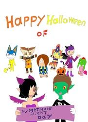 Size: 761x1049   Tagged: safe, artist:pokeneo1234, pound cake, pumpkin cake, rover, oc, oc:nyx, animal crossing, chaotic, cosplay, crossover, gegege no kitaro, h'earring, halloween, kitaro, medama-oyaji, nightmare night, non-mlp oc, vlar