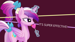 Size: 1920x1080 | Tagged: safe, artist:kp-shadowsquirrel, artist:parclytaxel, princess cadance, alicorn, pony, .svg available, 3dby2lines, female, licking, lollipop, magic, mare, ponytail, solo, tail bow, vector, wallpaper