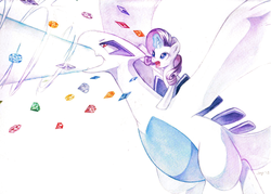 Size: 1280x919 | Tagged: safe, artist:jiayi, rarity, lugia, pony, unicorn, crossover, duo, female, fight, flying, gem, mare, pokémon, ponies riding pokémon, riding, spread wings, traditional art, watercolor painting, wings