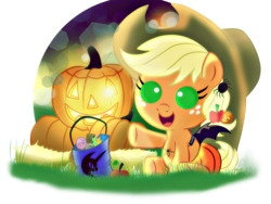 Size: 2048x1536   Tagged: safe, artist:ruhisu, applejack, bat pony, pony, spider, baby, baby pony, babyjack, bag, bat wings, candy, chocolate, clothes, costume, cowboy hat, cute, female, filly, foal, halloween, hat, holiday, jack-o-lantern, jackabetes, moon, nightmare, nightmare night, pumpkin, smiling, solo