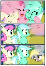 Size: 1741x2500 | Tagged: safe, artist:pyruvate, bon bon, derpy hooves, lyra heartstrings, pinkie pie, sweetie drops, earth pony, pegasus, pony, unicorn, comic:the usual, comic, female, mare, squishy cheeks