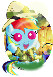 Size: 1197x1755   Tagged: safe, artist:ruhisu, daring do, rainbow dash, pegasus, pony, baby, baby dash, baby pony, candy, clothes, costume, cute, daring do costume, dashabetes, female, filly, filly rainbow dash, foal, halloween, happy, holiday, jack-o-lantern, nightmare night, open mouth, pumpkin, signature, solo